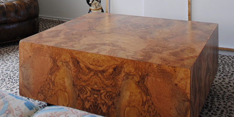 Found Burl Laminate Square Coffee Table