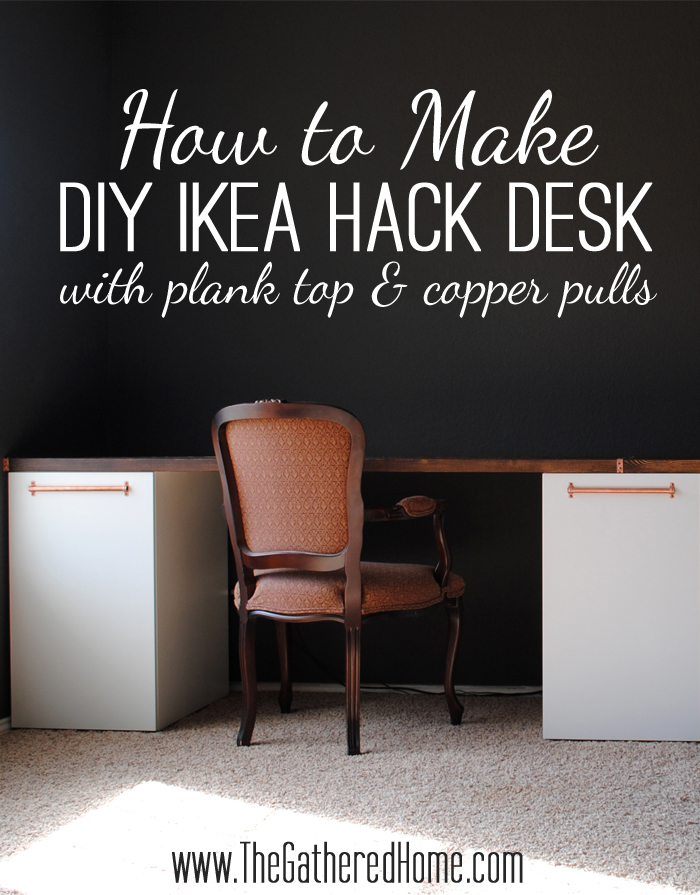How To Make A Diy Ikea Desk With Plank Top And Copper Pulls