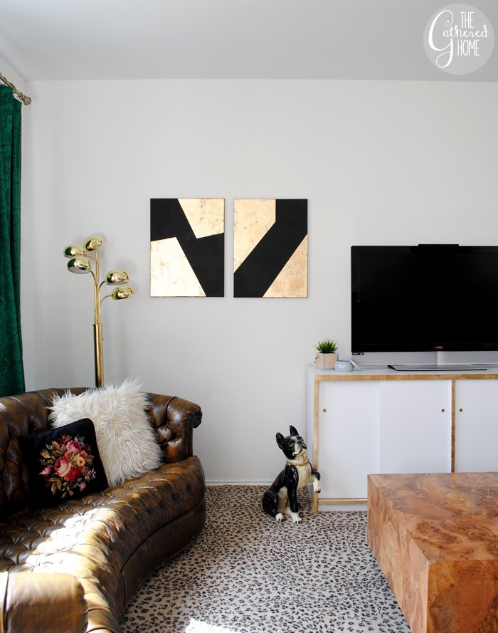Black And Gold Wall Art diy black and gold leaf art - the gathered home