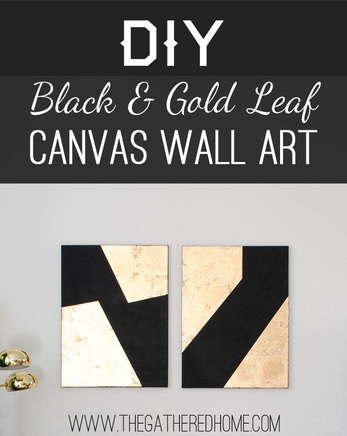 DIY Black and Gold Leaf Art