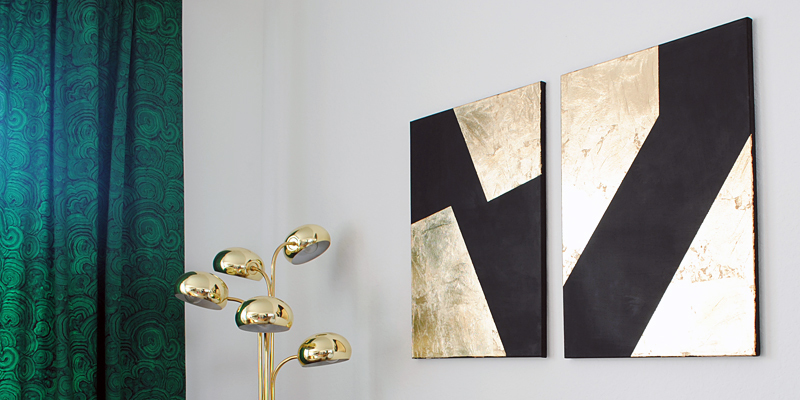 Diy Gold Leaf Wall Art : Diy black and gold leaf art the gathered home