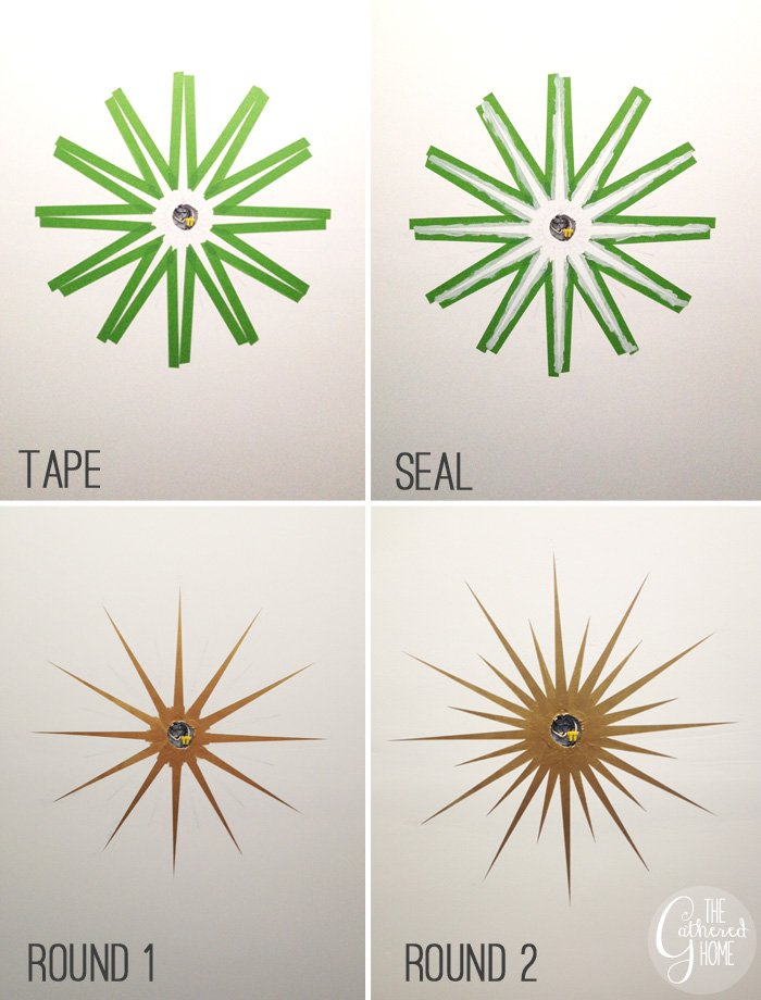 DIY Sunburst Ceiling Medallion u0026 Ikea Honefoss Mirrors