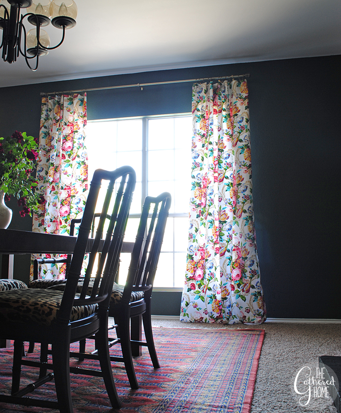Dining Room Updates Floral Curtains Bokhara Rug