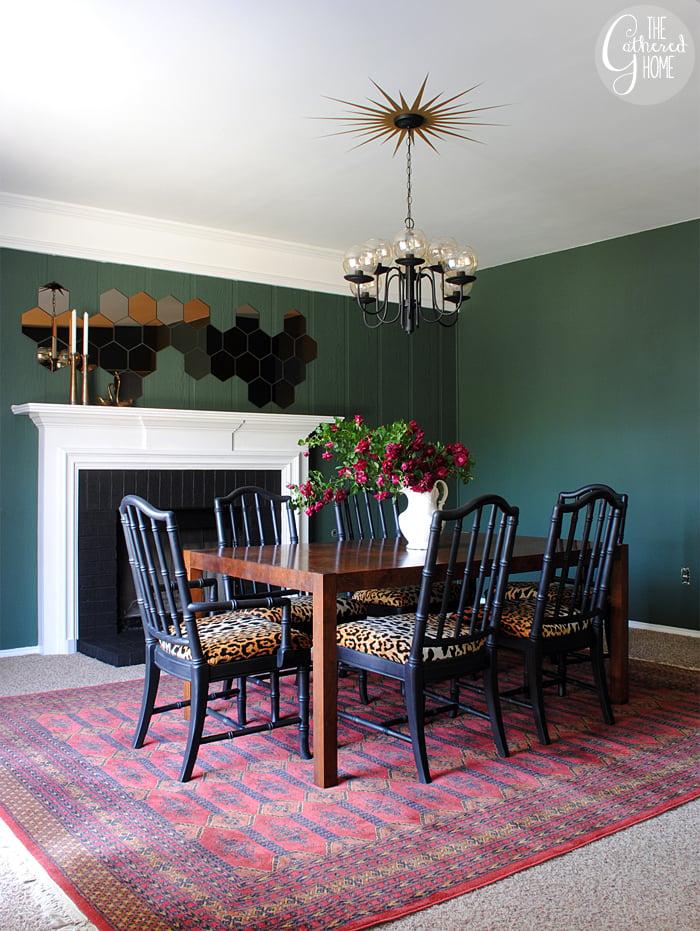 dining room updates floral curtains bokhara rug. Black Bedroom Furniture Sets. Home Design Ideas