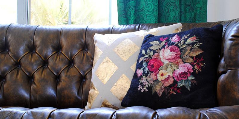 West Elm Inspired Gold Leaf Pillows