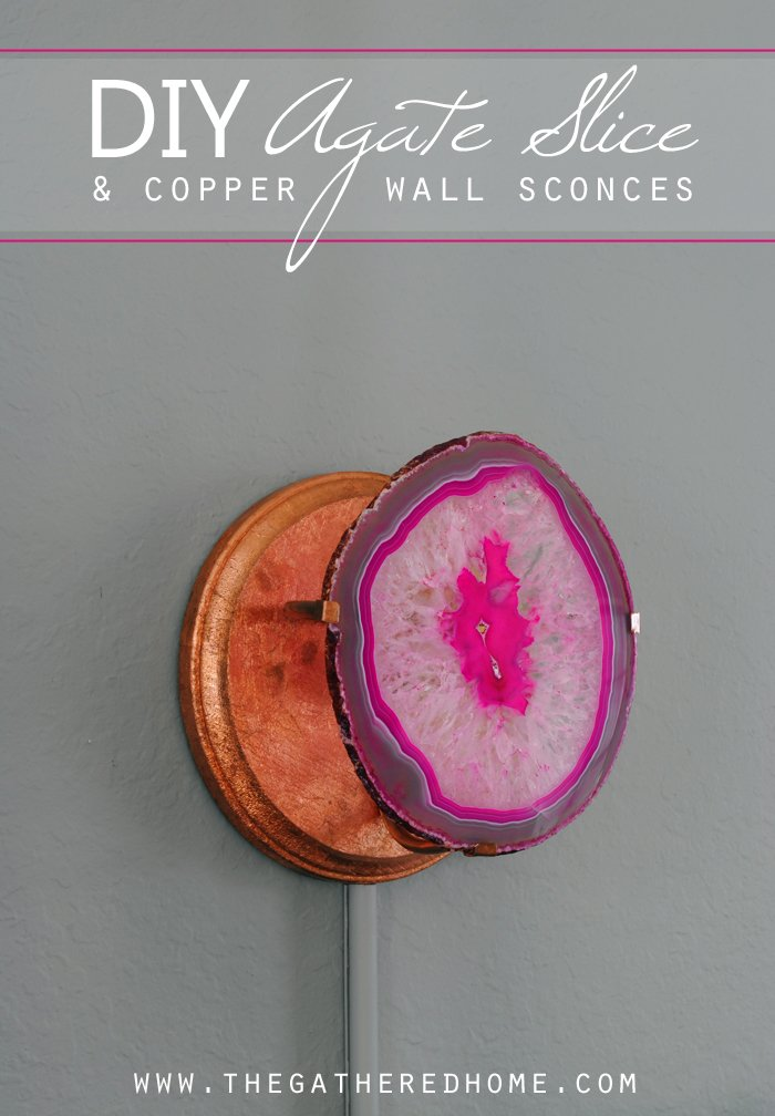 DIY agate slice and copper wall sconces title