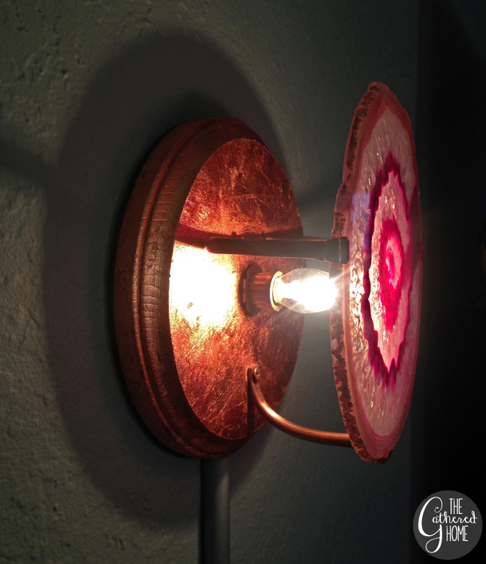 DIY agate slice and copper wall sconces