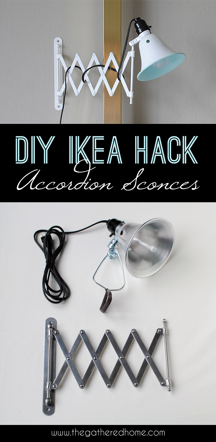 diy ikea hack accordion sconces the gathered home. Black Bedroom Furniture Sets. Home Design Ideas