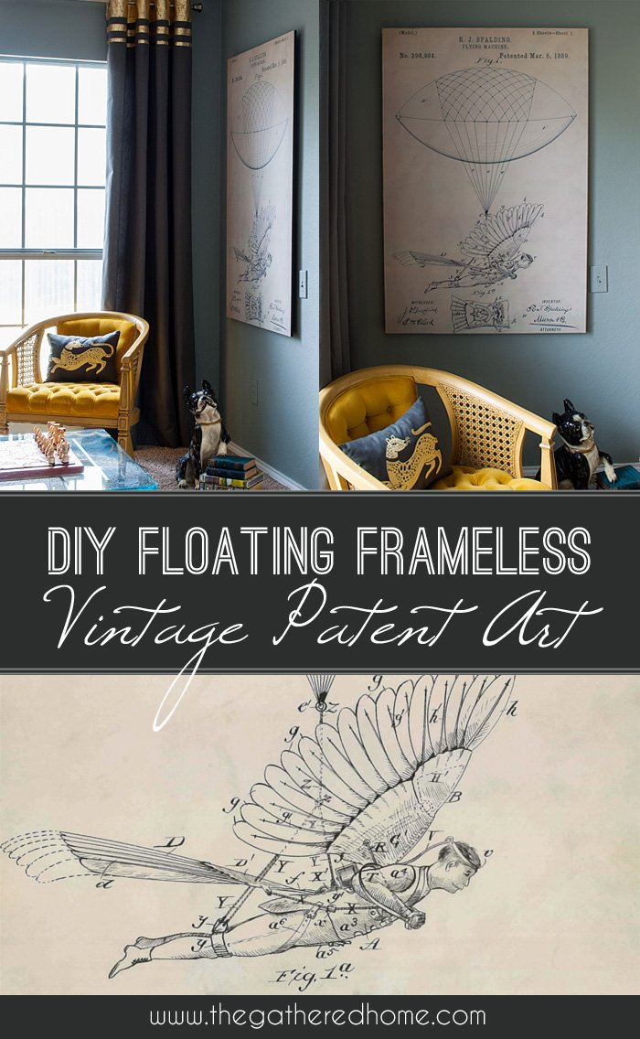 DIY Floating Frameless Vintage Patent Art | The Gathered Home