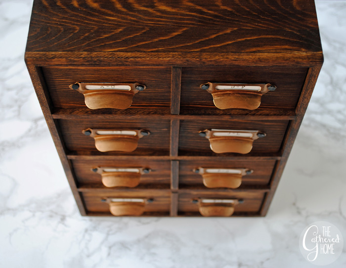 DIY Miniature Card Catalog Jewelry Box | The Gathered Home