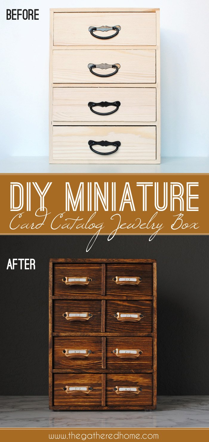 Create your own miniature DIY card catalog using a few craft store supplies - take an unfinished wooden box from plain to perfectly vintage-looking! What a great idea for any library-lover!