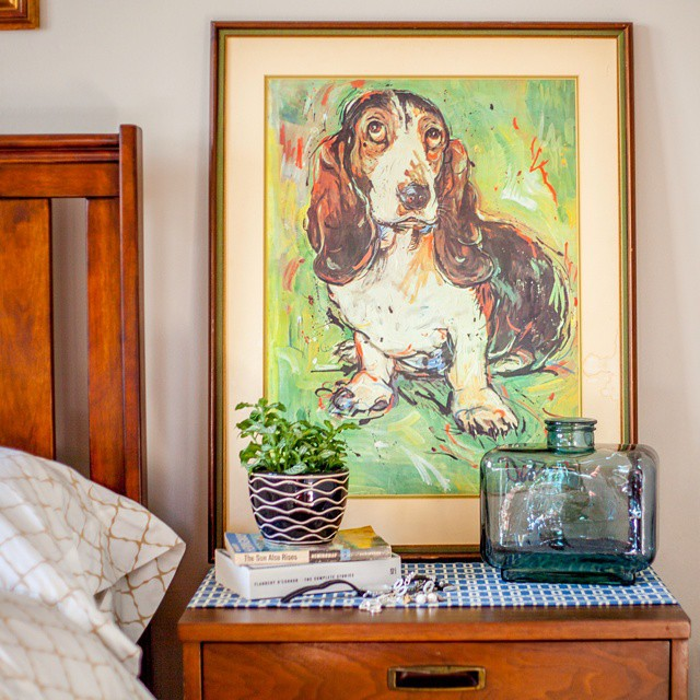 Thrift Score Thursday feature vintage basset hound painting via bbkingery