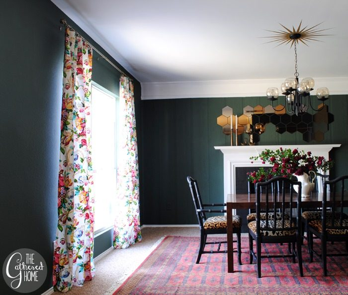 dining room updates floral curtains