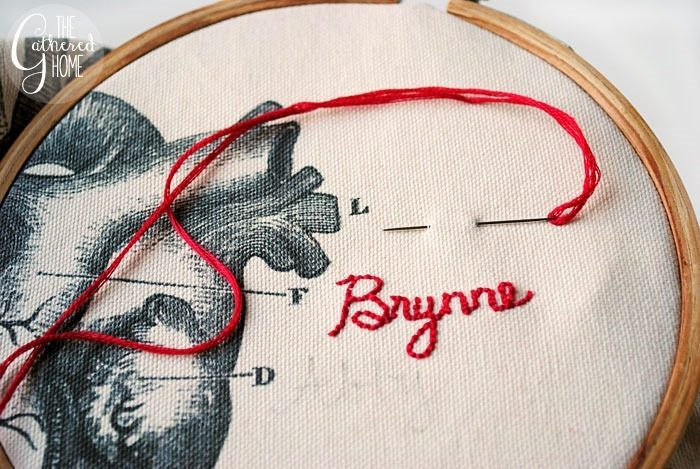 embroidering names on pillow cover