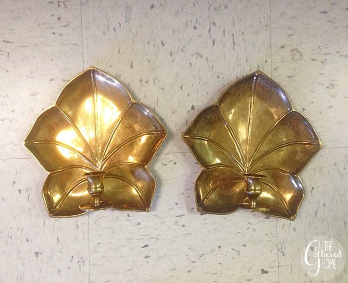 Thrift Score Thursday brass leaf sconces