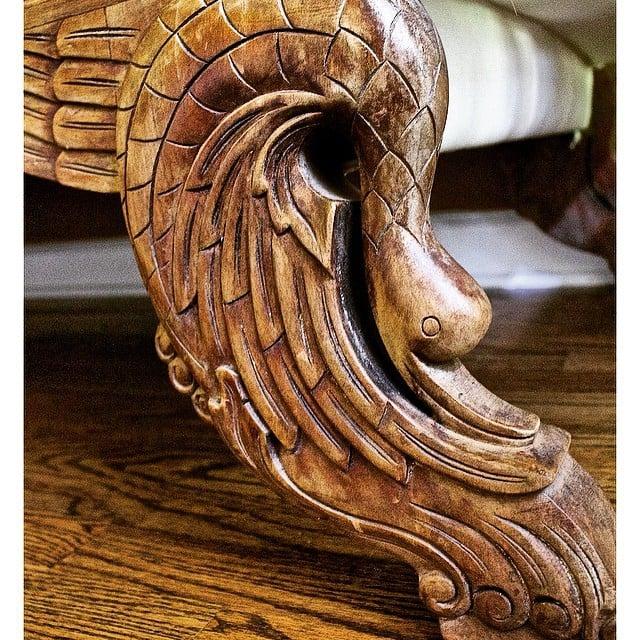 Thrift Score Thursday feature carved swan sofa via 2beesinapod