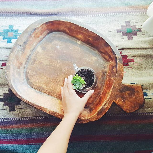 Thrift Score Thursday feature rug and wooden bowl via the_decor_adobe