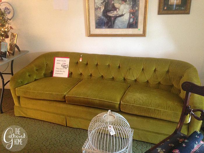 Thrift Score Thursday tufted velvet sofa