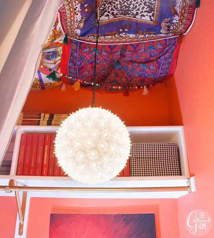 Vintage Boho Reading Nook Scarf Ceiling 3