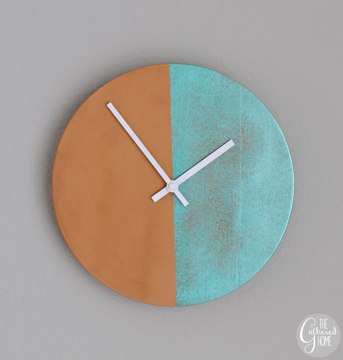 diy copper patina two-tone clock 2