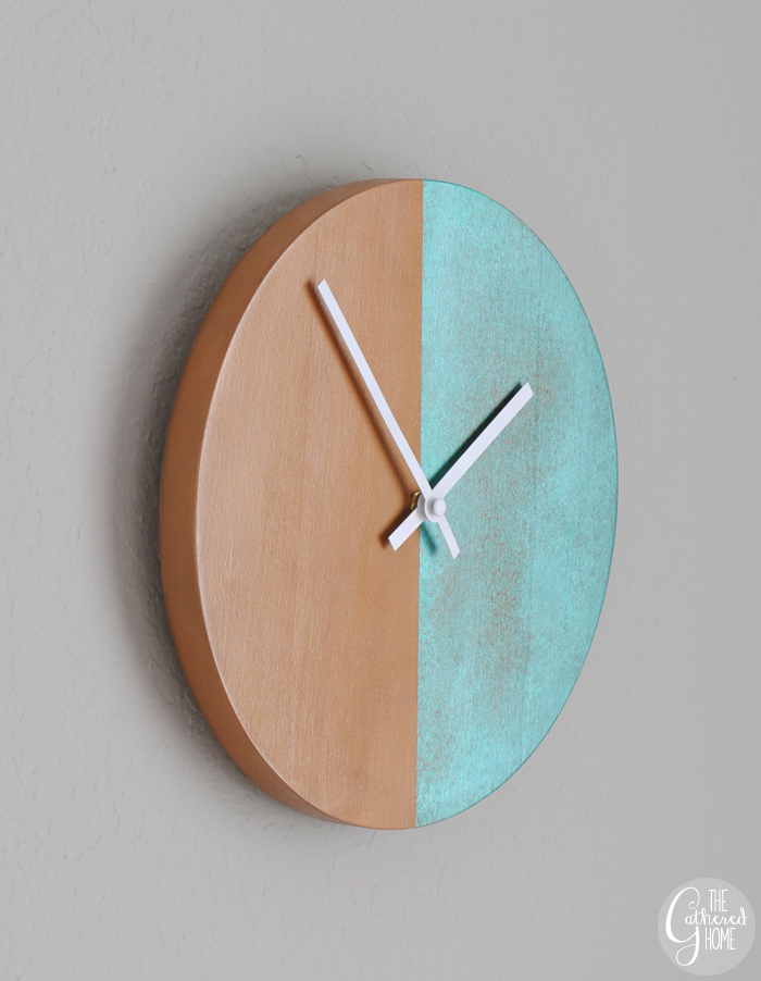 diy copper patina two-tone clock 3