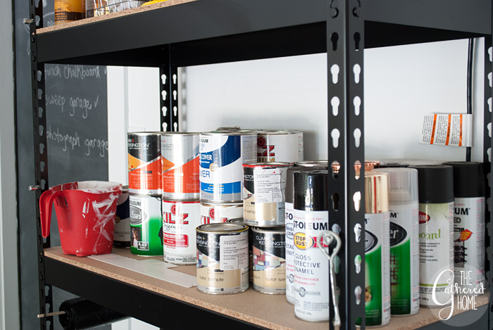 The Gathered Home's garage makeover: paint storage solutions