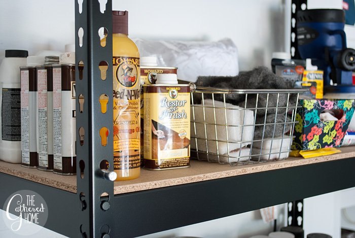 The Gathered Home's garage makeover: storage shelf