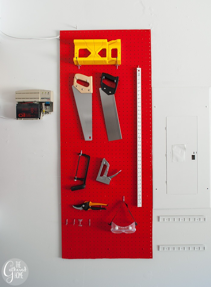 The Gathered Home's garage makeover: pegboard tool organization