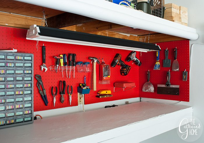 The Gathered Home's garage makeover: pegboard work bench tool organization