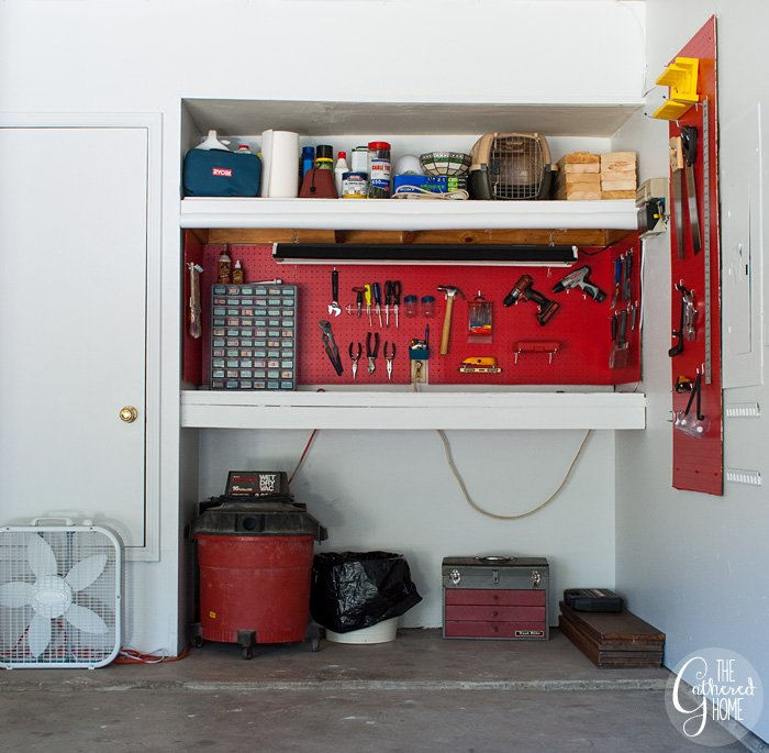 The Gathered Home's garage makeover: pegboard work bench