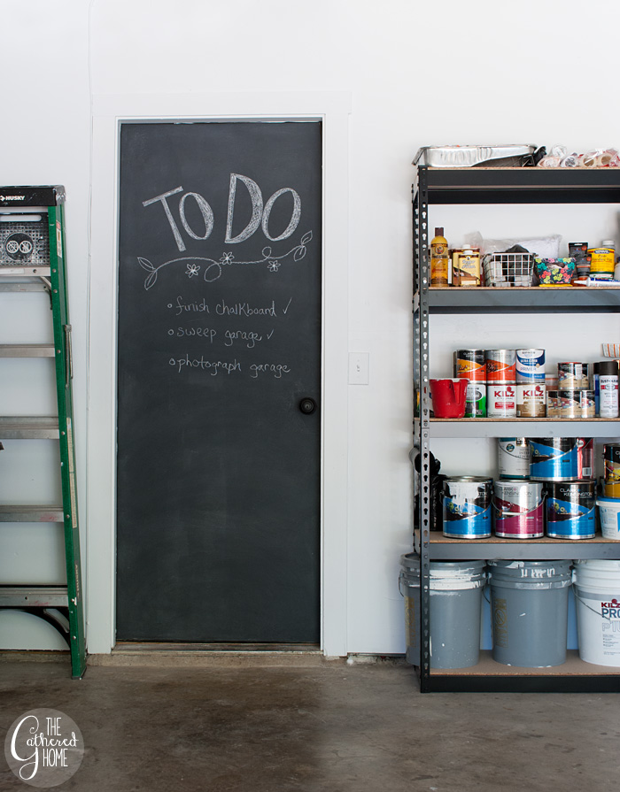 The Gathered Home's garage makeover: chalkboard garage door