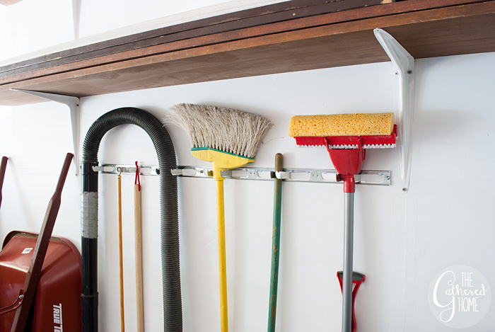 The Gathered Home's garage makeover: tool and broom storage