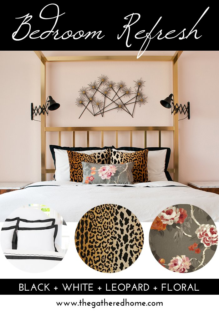 Give your bedroom an update with this effortless and foolproof decorating formula: black + white + leopard + floral .