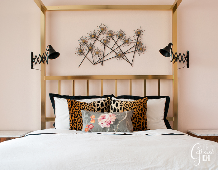 Black + white + leopard + floral bedroom refresh