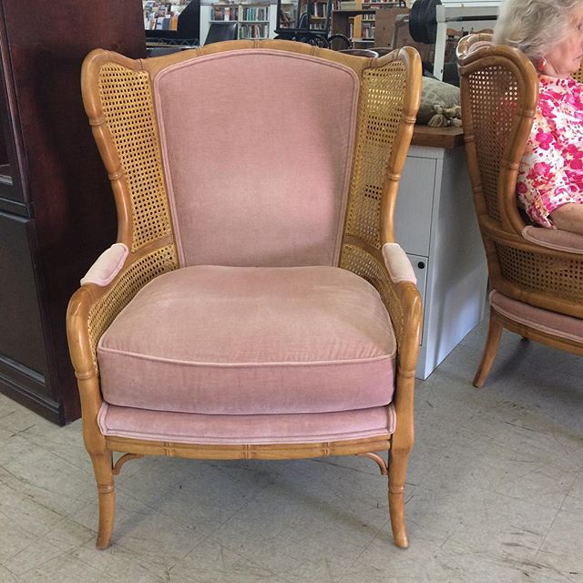 Thrift Score Thursday feature faux bamboo cane wing chairs via tracyschicvintage