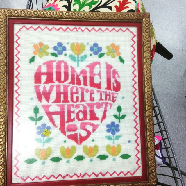 Thrift Score Thursday feature home is where the heart is needlepoint via secondhandglam