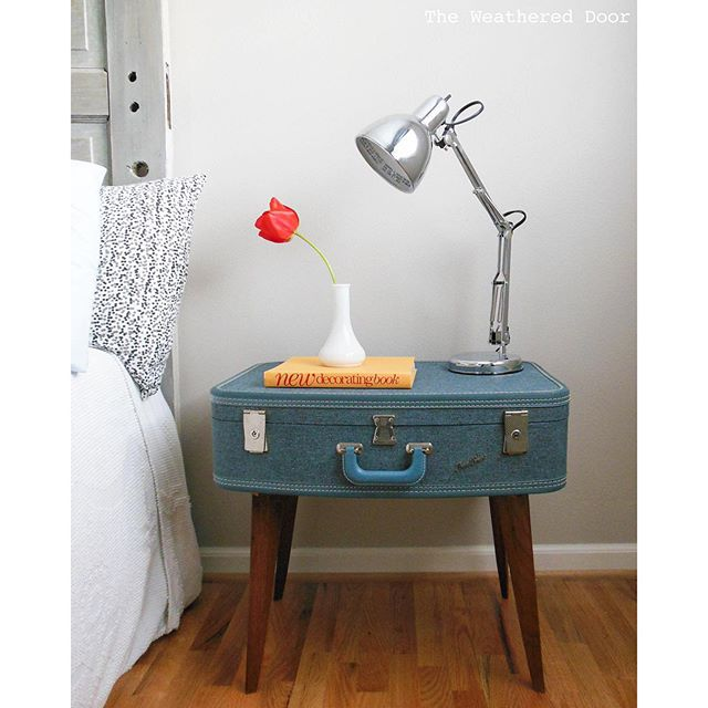 Thrift Score Thursday feature suitcase table via theweathereddoor