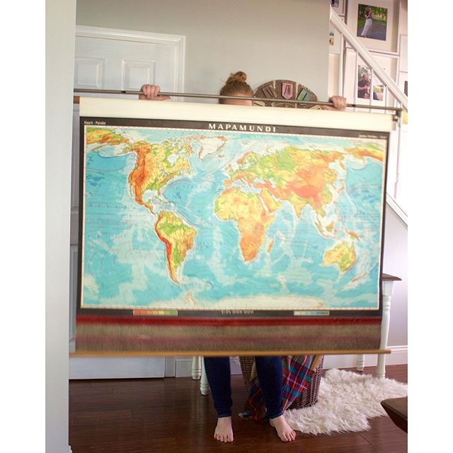Thrift Score Thursday feature vintage pull down Spanish world map via brittaneykate