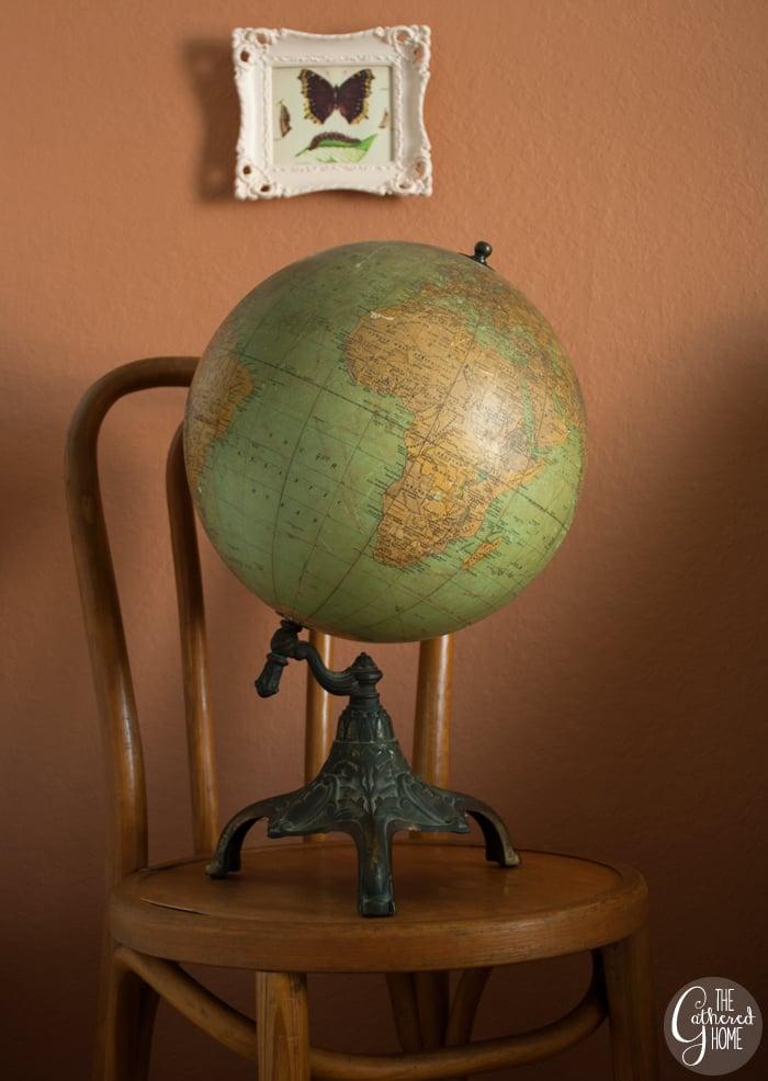 A stunning vintage Rand McNally 12 inch globe circa 1930 with an ornate metal base