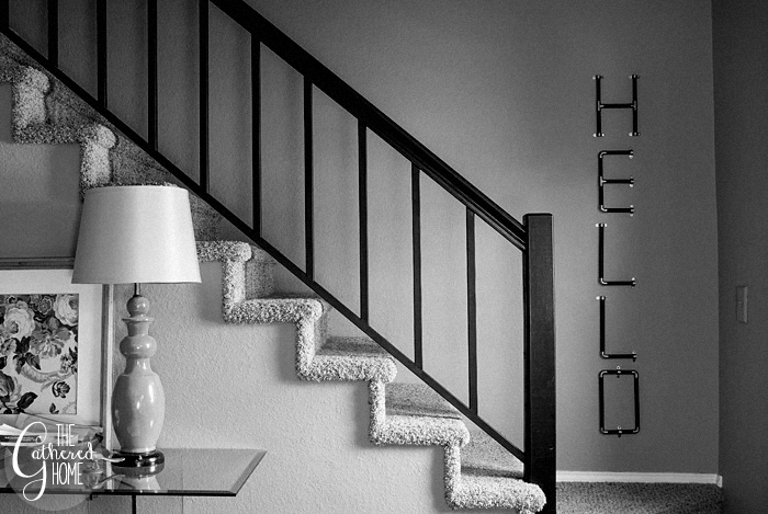 black and white hello sign