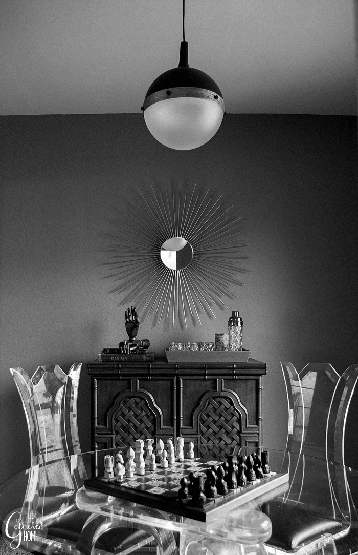 black and white sunburst mirror