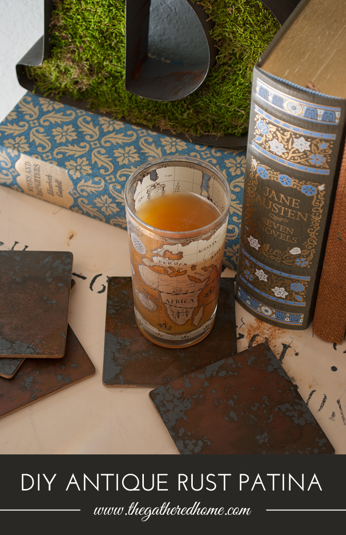 Who knew rust could be so glamorous? These DIY coasters get their awesome texture from two cool products that create an authentic rust patina! Full tutorial here...