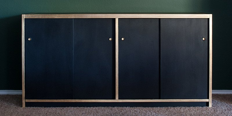 DIY Black and Gold Leaf Credenza