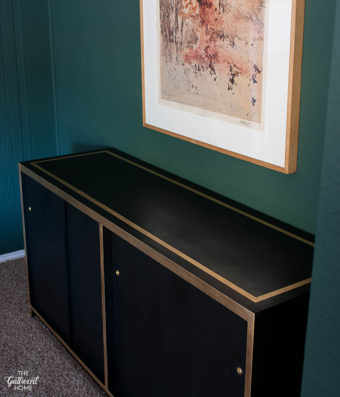 DIY Black and Gold Leaf Sideboard with Amy Howard One Step Paint-1-20