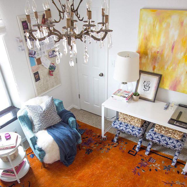 Thrift Score Thursday feature office vintage chandelier orange rug via gloriajoy