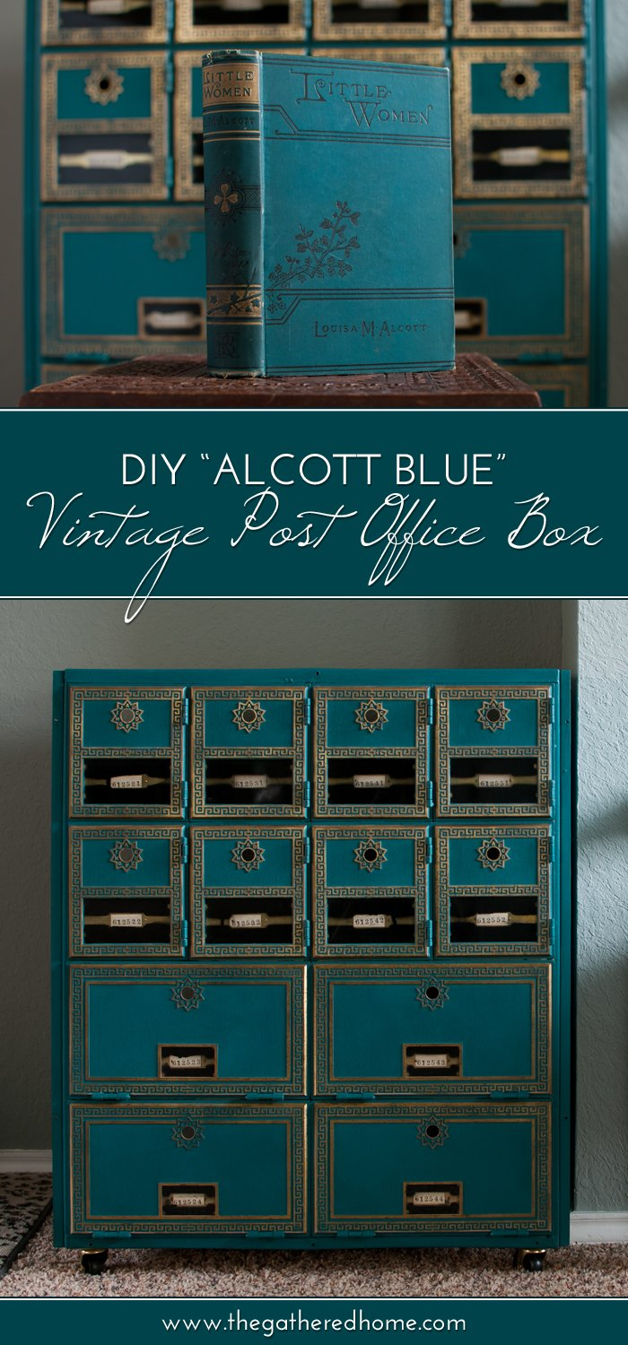 DIY Alcott Blue Vintage Post Office Box Makeover