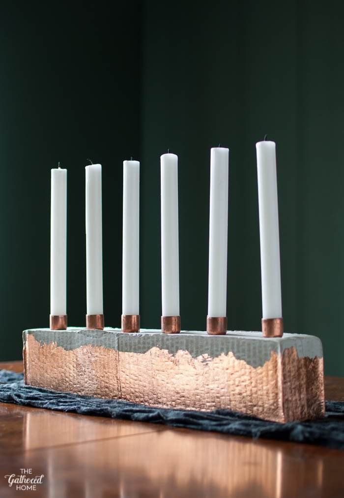 DIY Copper & Cement Candle Holder-5