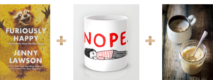 Furiously Happy by Jenny Lawson + Gemma Correll Nope Mug + The Wanderlust Kitchen Hot Buttered Rum Mix 2