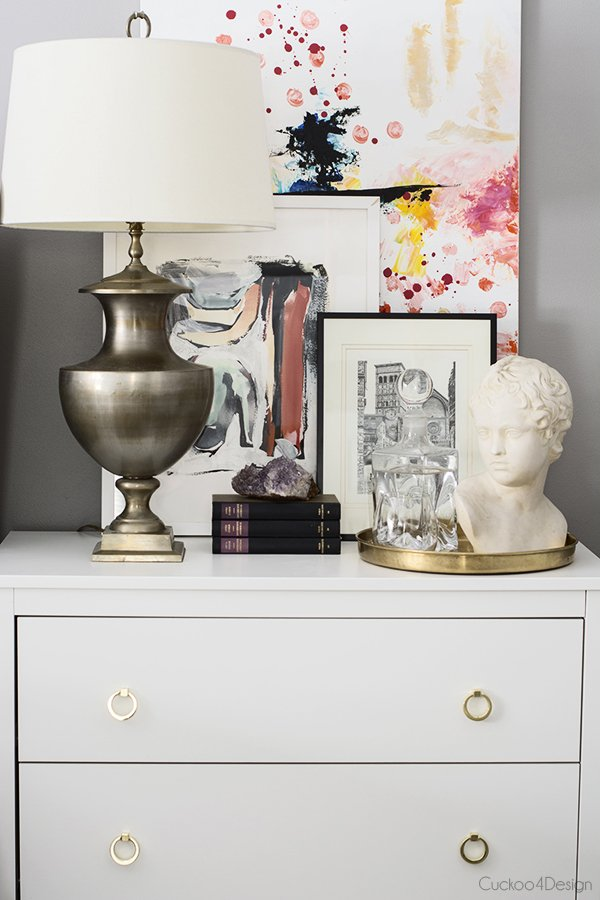 Layered nightstand artwork via Cuckoo4Design