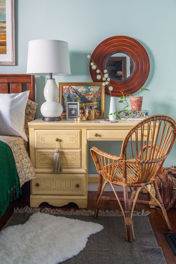 Nightstand vignette with paint by number via Britt Kingery 2